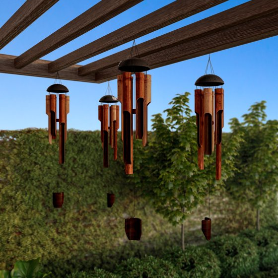 "b3c1d458e Bamboo Wind Chime- 38"" Natural Environment Conscious, Hand Crafted and Hand Tuned  Wind Chimes For Garden, Patio, Home or Outdoor Decor by Pure Garden ..."