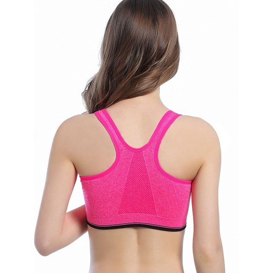 d074a65a9f SAYFUT Women s Seamless Sport Bra Active Gym Yoga Workout Sports Bras  Wireless Zip Front Mesh Racerback High Impact - Walmart.com