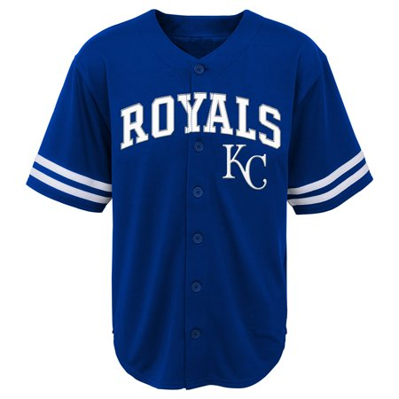MLB Kansas City ROYALS TEE Short Sleeve Boys Fashion Jersey Tee 60% Cotton 40% Polyester BLACK Team Tee 4-18](City Boy)