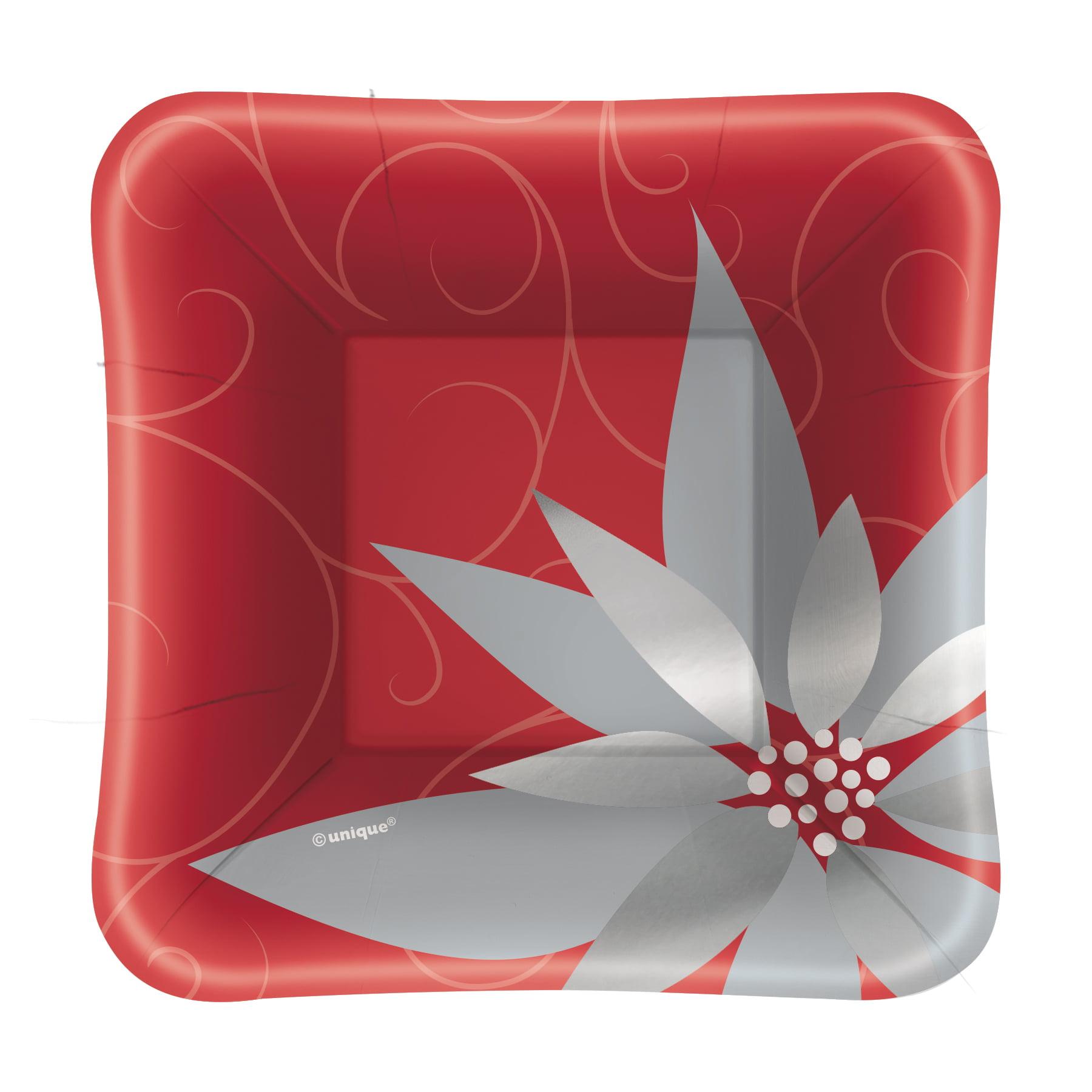 "5"" Foil Square Paper Appetizer Elegant Red Christmas Plates, 8ct"