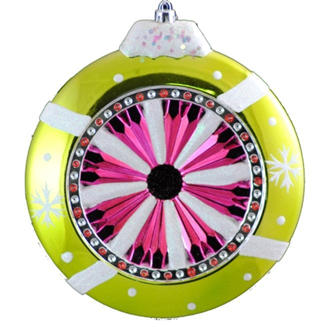 Queens of Christmas WL-ORN-BALL-GR/RE/WH 10 inch Green  Red  and White Space Saver  Decorated Plastic Reflector Hanging