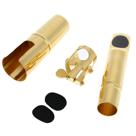 Jazz Alto Sax Saxophone 7C Mouthpiece Metal with Mouthpiece Patches Pads Cushions Cap Buckle Gold