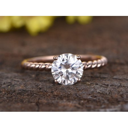 Huge 2 Carat Round cut Moissanite solitaire engagement ring in 18k Rose Gold Over