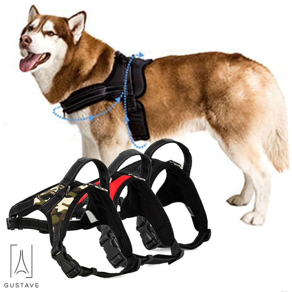 GustaveDesign No Pull Dog Harness for Large Dog Adjustable Pet Vest Harness with belt buckle for Outdoor Walking