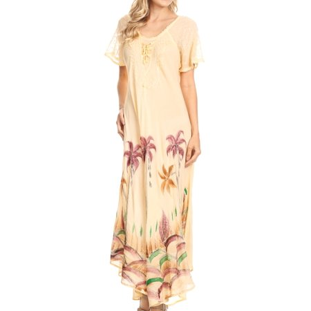 Sakkas Irem Women Everyday Caftan Long Dress Kaftan with Corset and Lace Sleeves - Cream - One Size - Corset Dresses With Tutu