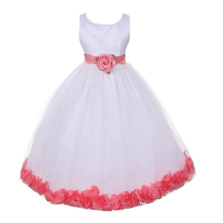 Little Girls White Coral Floral Petals Organza Sash Flower Girl Dress