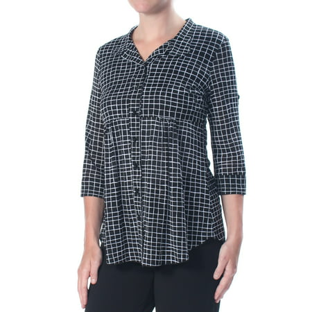 Petites Roll (STYLE & COMPANY Womens Black Roll Tab Sleeve Checkered 3/4 Sleeve Top Petites  Size: S)