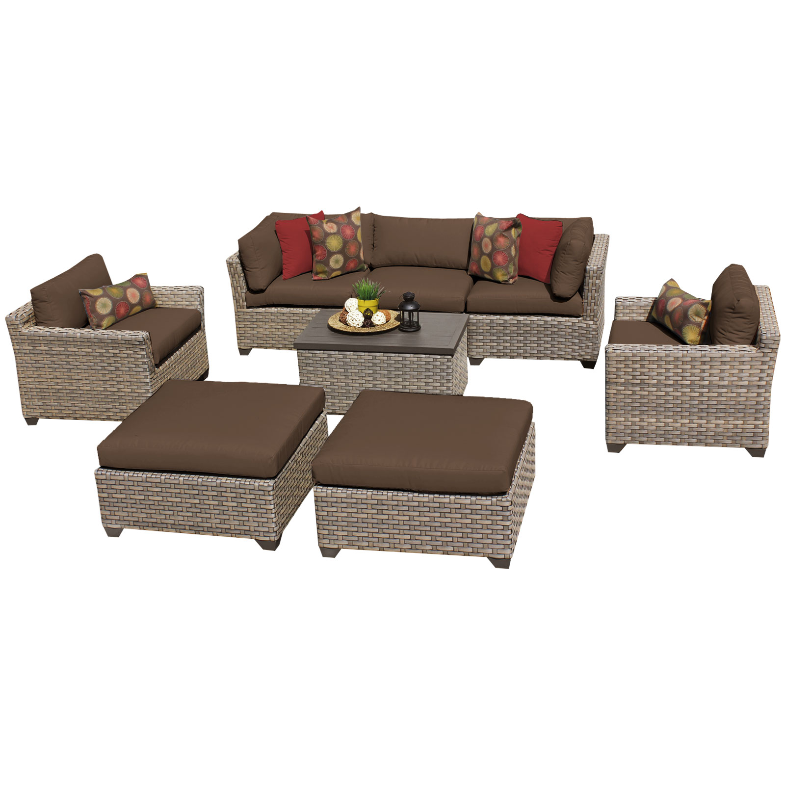 Hampton 8 Piece Outdoor Wicker Patio Furniture Set 08a by TK Classics