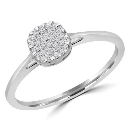 Majesty Diamonds MDR190095-7.75 0.12 CTW Round Diamond Promise Cushion Cluster Engagement Ring in 14K White Gold - Size 7.75 - image 1 of 1