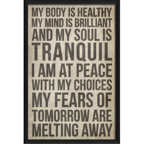 The Artwork Factory My Soul is Tranquil Affirmation Framed Textual Art in Black