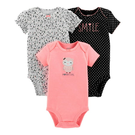 Child Of Mine By Carter's Short Sleeve Bodysuits, 3-pack (Baby Girls)
