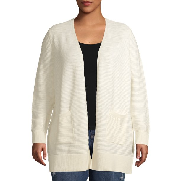 Terra & Sky Women's Plus Size Ottoman Stripe Open Cardigan