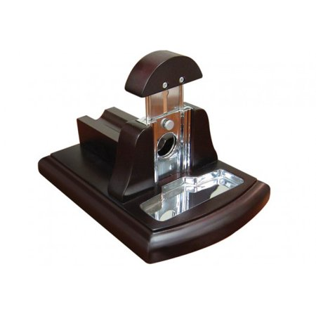 Desktop Guillotine Cutter w/ Tobacco Catch Tray - Walnut Dark Mahogany ()