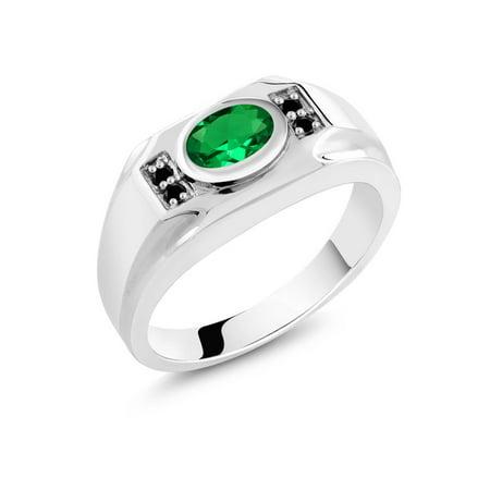 1.28 Ct Oval Green Nano Emerald Black Diamond 925 Sterling Silver Men's