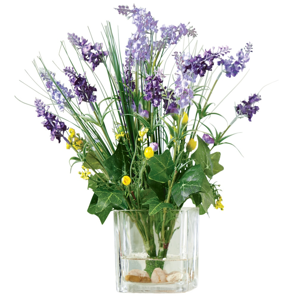 Collections Etc  Wisteria Floral Bouquet in Glass Vase