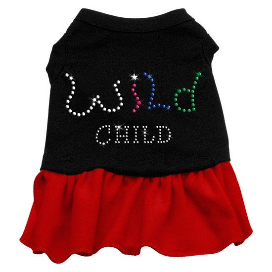 Image of Mirage 57-22 SMBKRD Rhinestone Wild Child Dog Dress Black With Red Sm