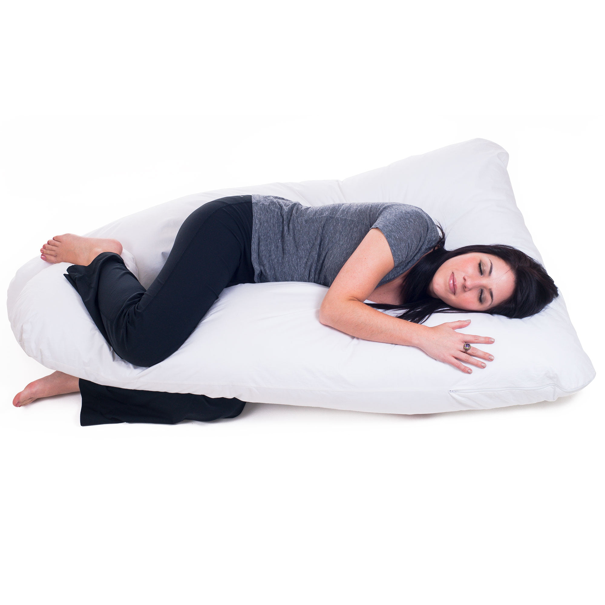 U-Shape Full Body Maternity Pillow with Velvet Cover ThinLife Pregnancy Pillow 55Inch Blue Pink Support Detachable Extension