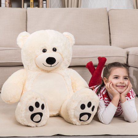 WOWMAX 3 Foot Giant Teddy Bear Daney Cuddly Stuffed Plush Animals Teddy Bear Toy Doll for Birthday Christmas Ivory 36