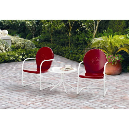 Outstanding Mainstays Retro C Spring 3 Piece Metal Outdoor Chat Set Red Interior Design Ideas Clesiryabchikinfo