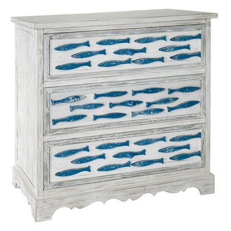Wilshire Antique White Dresser - Swimming Upstream Antique White 3 Drawer Blue Fish Chest