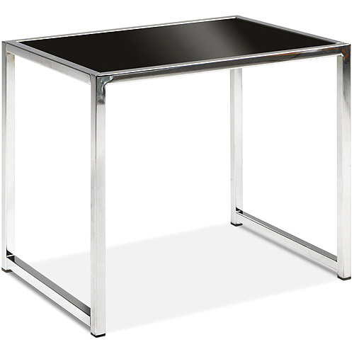 Avenue Six Yield End Table, Chrome and Black Glass