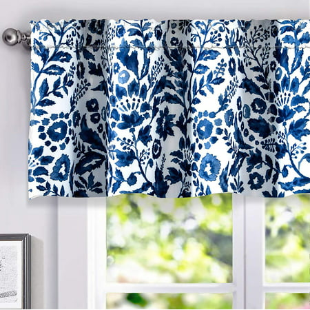 Navy Living Room - DriftAway Julia Sketch Lined Thermal Insulated Energy Saving Window Curtain Valance for Living Room Bedroom Kitchen, 2 Layer, Rod Pocket, 52