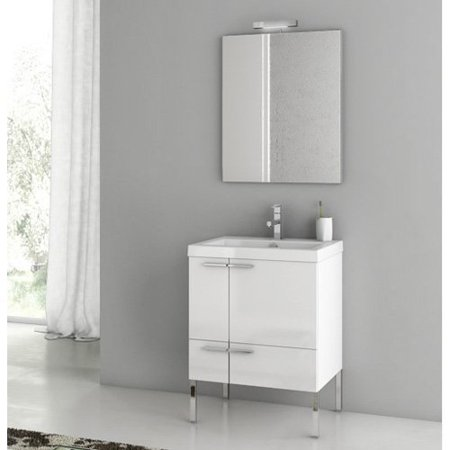 ACF by Nameeks ACF ANS01-GW New Space 23-in. Single Bathroom Vanity Set - Glossy White