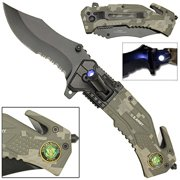 Clip point Tactical Rescue Pocket Knife US Army Camo with LED Flashlight