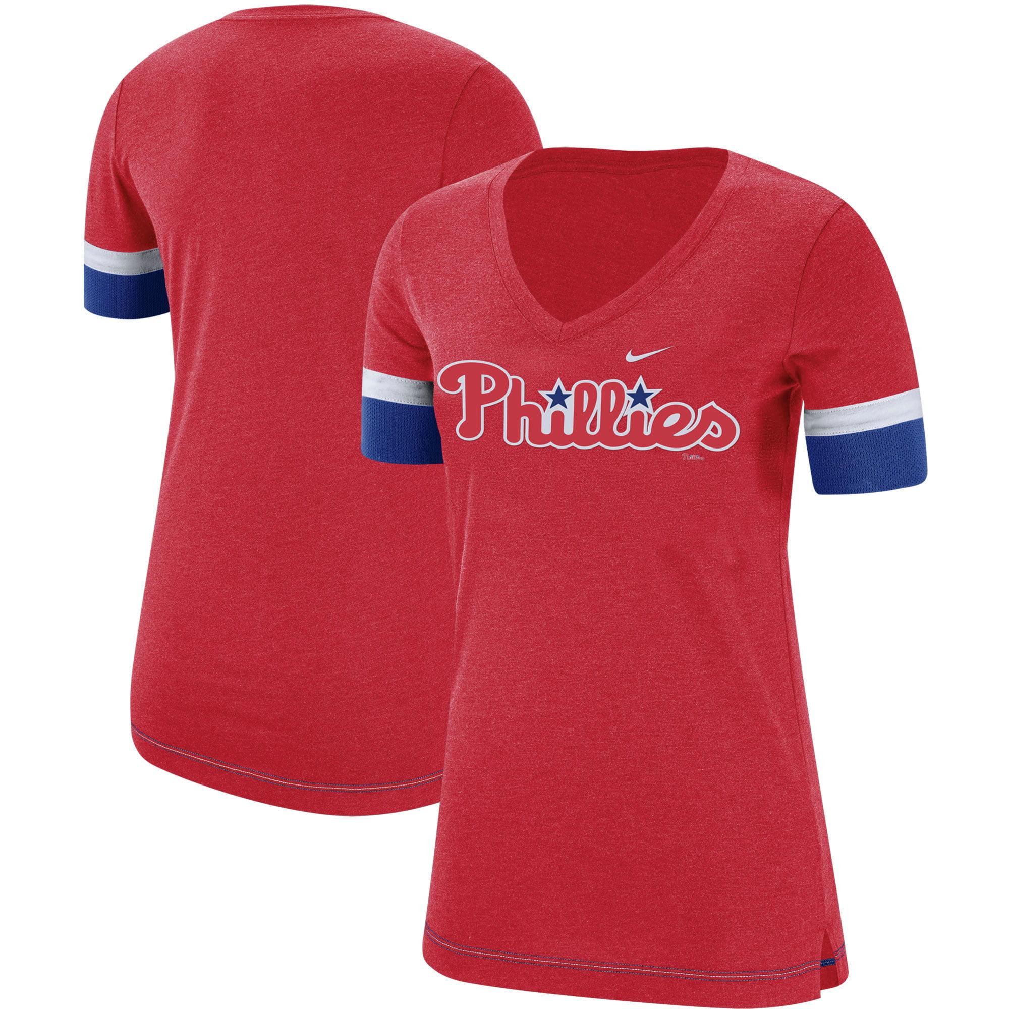 Philadelphia Phillies Nike Women's Mesh V-Neck T-Shirt - Red