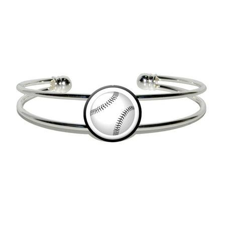 Baseball Ball Silver Plated Metal Cuff - Baseball Bracelets