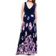 Women's Dress Plus Maxi Floral Accordian Pleat 16W