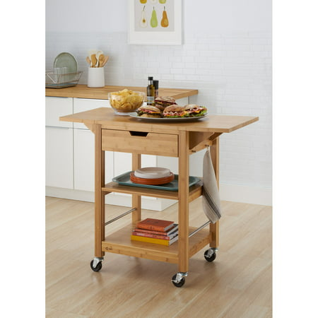Trinity Bamboo 24 in. Kitchen Cart with Drop