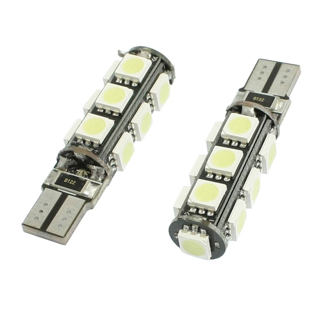 Unique Bargains 2 Pcs T10 White 5050 SMD 13 LED Wedge Turn Signal Light Bulb DC 12V