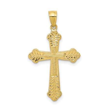10k Yellow Gold Budded Cross Religious Pendant Charm Necklace Passion Fine Jewelry For Women Gift - Gold Antique Styled Key Charm