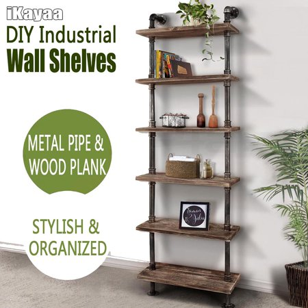 iKayaa 6 Tier Rustic Industrial Ladder Wall Shelves W/ Wood Planks DIY Iron Pipe Standing Book Shelf Utility Storage (Tiered Iron)