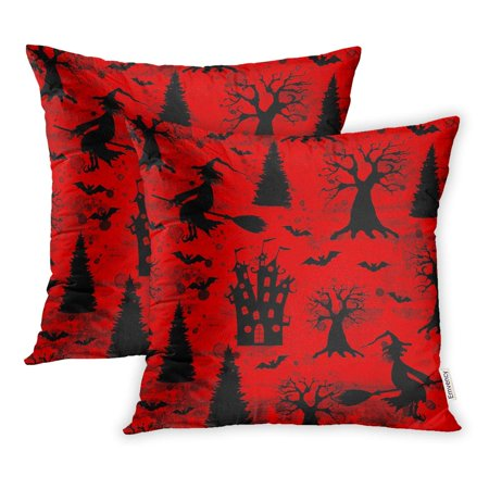 ECCOT Halloween Bloody Red Silhouettes Terrible Dead Trees Castle Bats Wicked Pillowcase Pillow Cover 18x18 inch Set of 2](Halloween Dead Tree Silhouette)