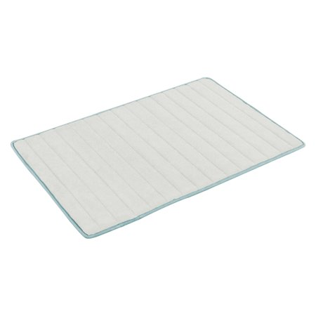 Fred 17 in. W x 24in. L Memory Foam Bath Mat in Spa Blue-White