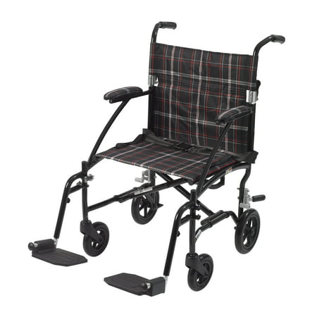 Drive Medical Fly Lite Ultra Lightweight Transport Wheelchair, Black