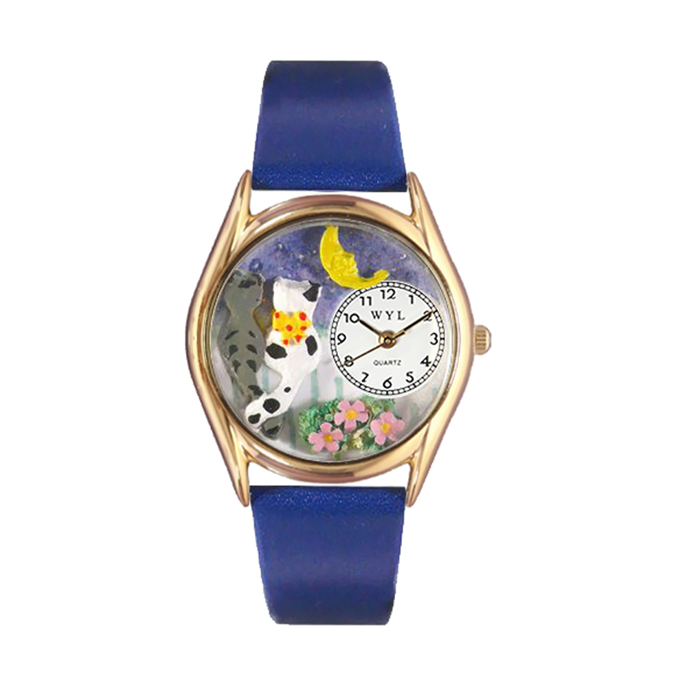 Whimsical Cats Night Out Royal Blue Leather And Goldtone Watch