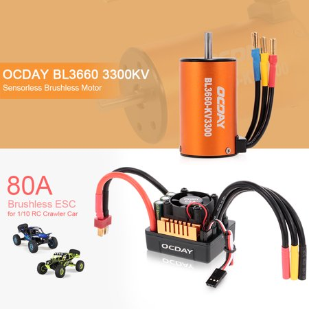 OCDAY BL3660 3300KV Sensorless Brushless Motor with 80A ESC for 1/10 RC Crawler Traxxas Redcat HSP Car Truck