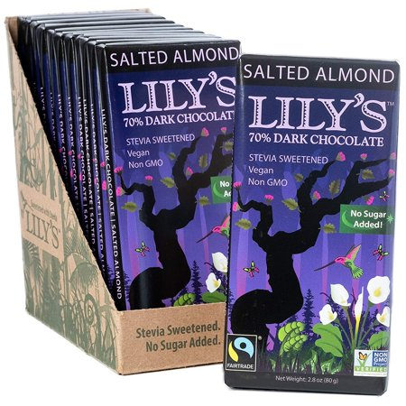 Salted Almond Dark Chocolate Bar by Lily's Sweets   Pack of 12 Bars   Stevia Sweetened, No Added Sugar, Low-Carb, Keto Friendly   70% Cacao   Fair Trade, Gluten-Free &