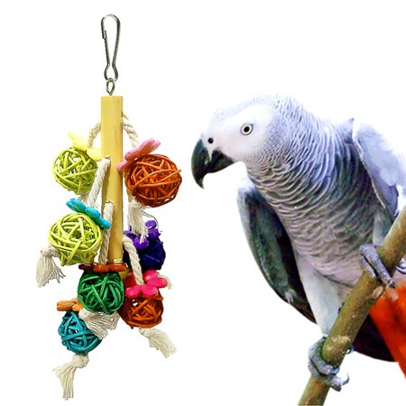 Parrot Bird Chewing Toys Colorful Rattan Ball String Hanging Climbing