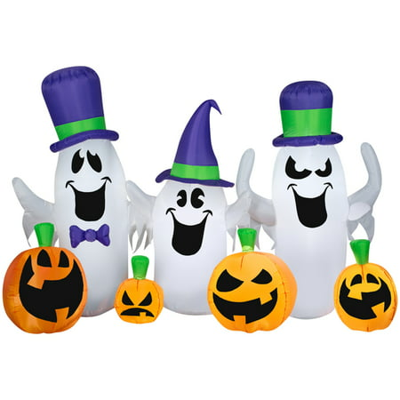 Gemmy Ghosts and Jacks Lighted Halloween Inflatable 66 in. W x 7-7/8 in. L x 84 in. H 1 pk