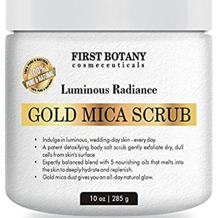 100% Natural Gold Mica Face and Body Scrub 10 oz with Nourishing Oils - Best for Acne, Eczema, Skin Discoloration and Detox, Deep Skin Exfoliator and Body