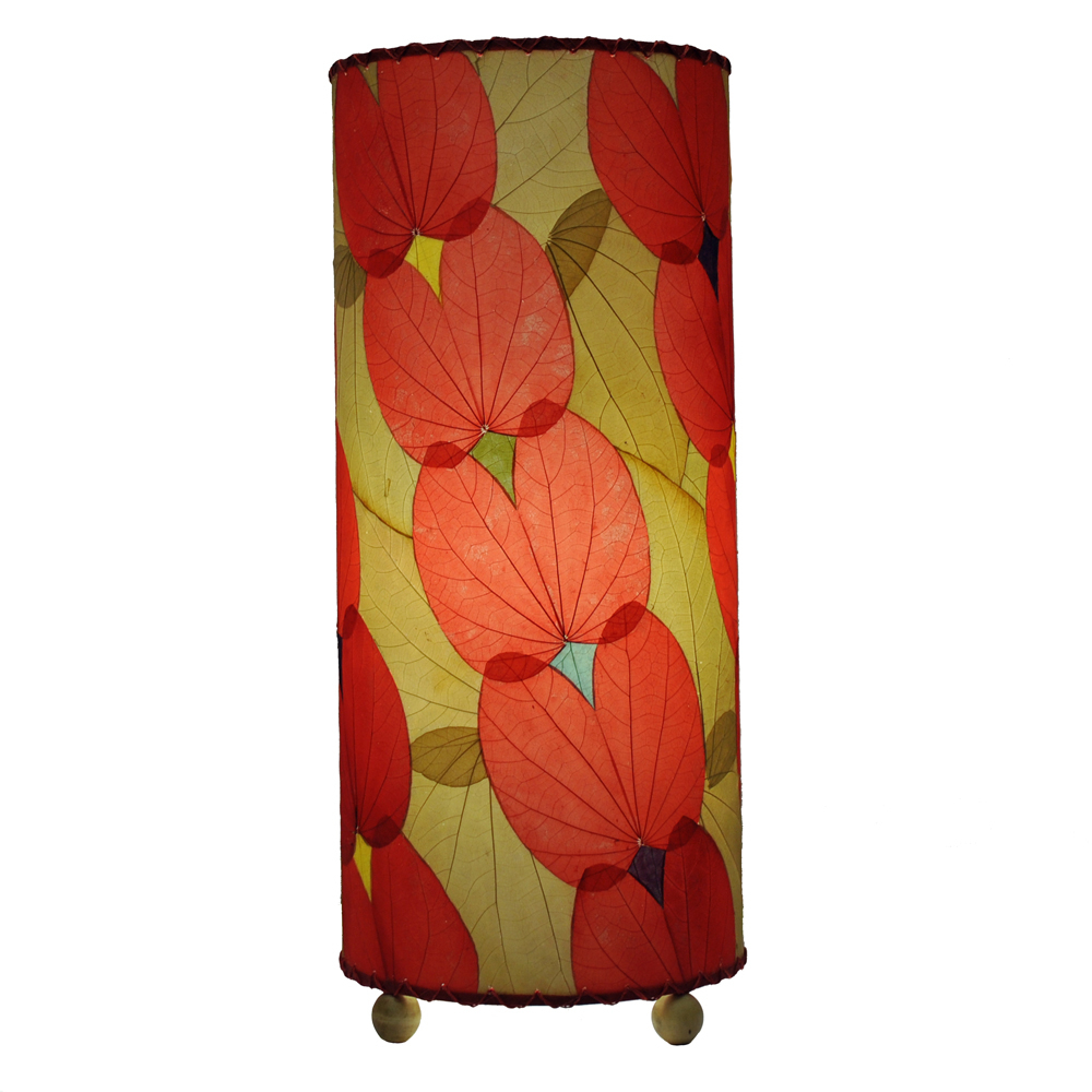 Eangee Home Designs Red Color Alibangbang Fossilized Leaves Indoor or Outdoor Table Lamp