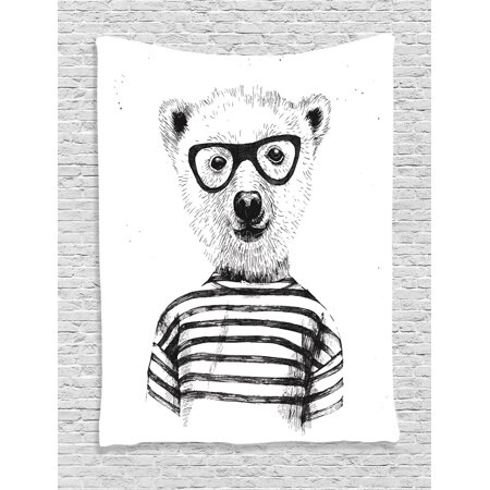 Apartment Decor Wall Hanging Tapestry, Dressed Up Hipster Nerd Smart Male Bear In Glasses Fun Character Animal Artful Print, Bedroom Living Room Dorm Accessories, By Ambesonne](Fun Movie Characters To Dress Up As)