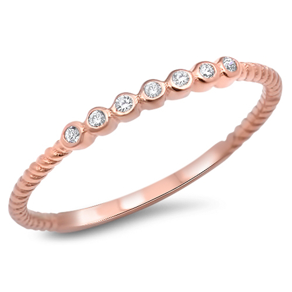 Rose Gold-Tone White CZ Wedding Ring ( Sizes 3 4 5 6 7 8 9 10 11 12 ) .925 Sterling Silver Thin Band Rings by Sac Silver (Size 5)