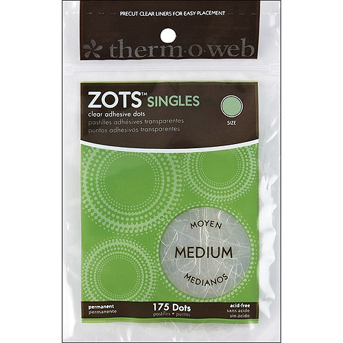 "Zots Singles Clear Adhesive Dots, Medium, 3/8"" x 1/64"" Thick, 175pc"