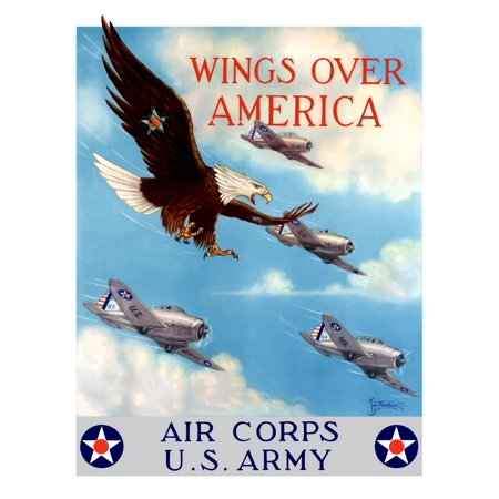 Vintage World War II poster of a bald eagle flying in the sky with fighter planes It declares - Wings over America Air Corps US Army Poster Print](Foo Fighters Halloween Poster)