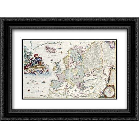 Map Of Europe 2X Matted 24X18 Black Ornate Framed Art Print By Danckerts  Cornelis
